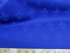 Discount Fabric Upholstery Drapery Twill Jacquard Fleur de Lis Royal Blue DR53