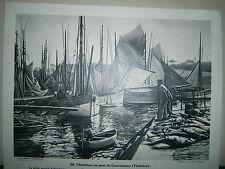 gravure France Thonniers au port de Concarneau Finistére