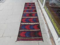 Old Traditional Hand Made Afghan Oriental Red Wool Kilim Runner 304x73cm