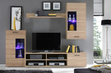 Wall unit in oak sonoma colour, tv unit,2x cabinets, shelf, LED lights Frontal