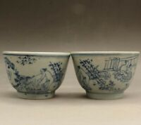 A pair Chinese OLD Blue and White Chunggong Tu large tea bowls YR23