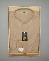 Old Vtg 1950s Great DEADSTOCK Needles Fruit of the Loom Mans Shirt 15.5 Tan