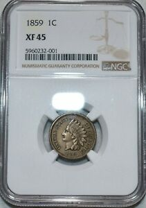 NGC XF-45 1859 Indian Head Cent, Sharp specimen.