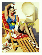 Pin Up Girl PRINT Brunette Wearing Black Stockings & Sailor Outfit