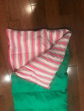 Lands End Sleeping Bag Green & Pink  Striped  Polyester Fill Full Zip adult