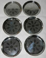 Set of 6 Vintage MID CENTURY 18/10 Stainless COASTERS by WMF Cromargan Germany