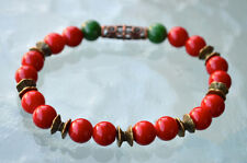 8 mm Red Coral Green Jade Wrist Mala Beads Bracelet - Attracts love