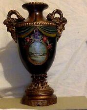 "Ornate Vintage Multi Color Urn. Hand Painted. Center Pictorial. 15"". Zeus Face"