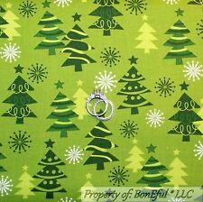 BonEful Fabric Fq Cotton Quilt Green Xmas Tree Star White Snowflake Blender Tone