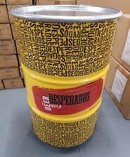 1 x Yellow Desperados 45 gallon steel drum mobile ice bucket / cart.