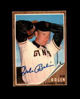 Bob Bolin Hand Signed 1962 Topps San Francisco Giants Autograph