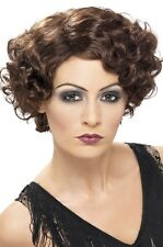 Ladies 1920s 20s Brown Flapper Polly Fancy Dress Costume Outfit Accessory Wig