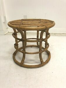 Vintage Mid Century Modern SIDE TABLE round end stand bamboo rattan boho chic 50