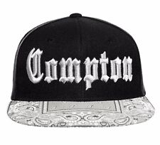 Black / Gray Compton Embroidered Hip Hop Flat Bill Bandana Snapback Cap Hat
