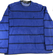 Nautica Mens Sweater LG Striped Pullover Crewneck Cotton Blue/Black Stripes