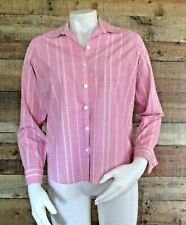 NEW Liz Claiborne No Iron Womens Pink White Check Button Up Shirt Size 4P Petite