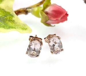 Oval 9 CT Gold Pale Pink Morganite Stud Earrings - 5 x 7 mm