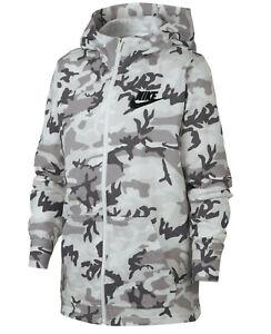 Nike Boy's Grey/White Camo Print Full Zip Hoodie (BQ6382-059) Sizes M/L/XL -NWT