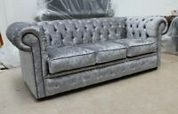CHESTERFIELD TUFTED BUTTONED 3 SEATER SOFA SETTEE COUCH SILVER GREY VELVET