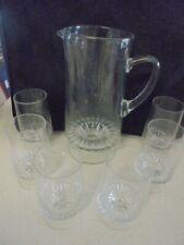 CRYSTAL WATER SET, JUG & 6 GLASSES