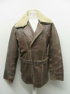 VINTAGE 80s HEAVY LEATHER MOTORCYCLE TOURING JACKET SIZE L MUTTON COLLAR, PATINA