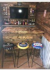 Bar Stool Man Cave Bar Pub Bottle Cap Metal, x2 stools