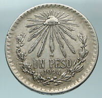 1924 MEXICO Eagle Liberty Cap Large Vintage OLD Silver Peso Mexican Coin i84472