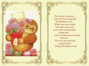 15 Girls Birthday Card inserts with verse