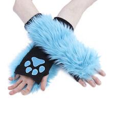 PAWSTAR Paw Arm Warmers - Furry Fingerless Gloves Costume Teal Blue [TU]3101