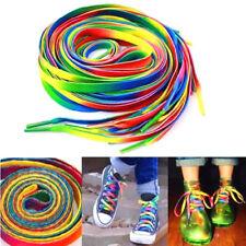 2PCS Rainbow Multi-Color Flat Shoe Laces Shoelaces Strings for Unisex Sneaker