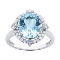 10k White Gold Oval Blue Topaz and Diamond Halo Ring
