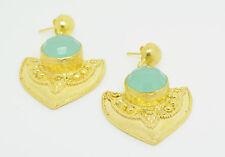 Ottomangems Semi joya preciosa piedra chapado en oro pendientes calcedonia tribal
