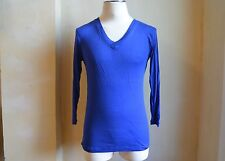 RAF by RAF SIMONS COOL ROYAL BLUE KNIT 3/4 SLEEVES & V NECK SWEATER S M PULLOVER