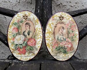 Shabby chic picture plaque handmade / wooden oval wall plaque - Vintage ladies