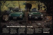 1976 TRIUMPH SPITFIRE & TR6 Convertible Car - Endangered Species - VINTAGE AD