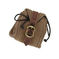 Medieval Celtic Small Brown Suede Leather Strapped Drawstring Buckled Pouch