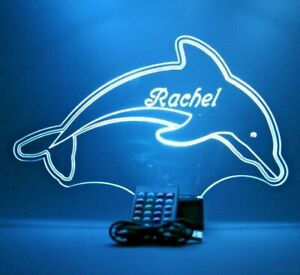 Swimming Dolphin Night Light Up Lamp LED Personalized Free Engraved With Remote