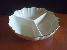 Lenox Porcelain Triple Tri Sectioned Candy Nut Condiment Dish Gold Trim