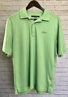 Greg Norman Play Dry Mens Short Sleeve Golf Polo Shirt Size Medium Bright Green