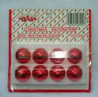 """VINTAGE 1"""" RED MERCURY MINIATURE ROUND GLASS BALL CHRISTMAS ORNAMENTS LOT OF 8"""