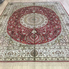 YILONG 8'x10' Large Red Hand Knotted Silk Carpet Interior Handmade Area Rug 093C