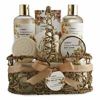 Home Spa Gift Basket - Honey & Almond Scent - Bath and Body Spa Set for Women