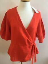 BNWT ZARA RED 100% PURE LINEN WRAP OVER TIE V NECK BLOUSE LARGE RRP £29.99