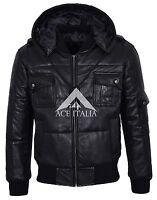 PILOT SIX PUFFER Men's BLACK Hooded Bomber Genuine Real Leather Jacket