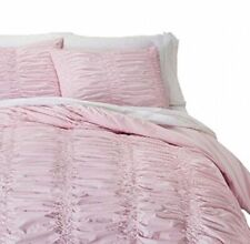 SIMPLY SHABBY CHIC PINK RUCHED STANDARD PILLOW SHAMS - PAIR