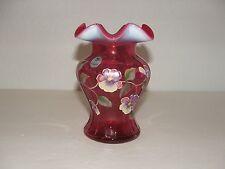 Fenton Cranberry Opalescent Hand Painted Vase #851, Tom Fenton Signature