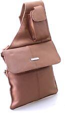 Womens Vintage Cow Hide Real Leather Messenger Shoulder Bag Cross Body Bag Tan