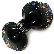 *USA* HAIR CLIP Acrylic Austria Crystal PIN Claw swirl bow-knot rosette BLACK