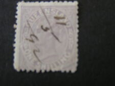 QUEENSLAND, SCOTT # 70, 1/-. VALUE PALE VIOLET PERF 12 PERF1883  QV ISSUE. USED