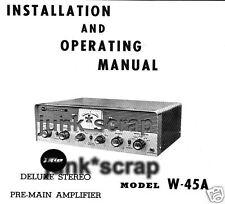 Trio W-45A Deluxe Stereo Pre-Main Amplifier Manual